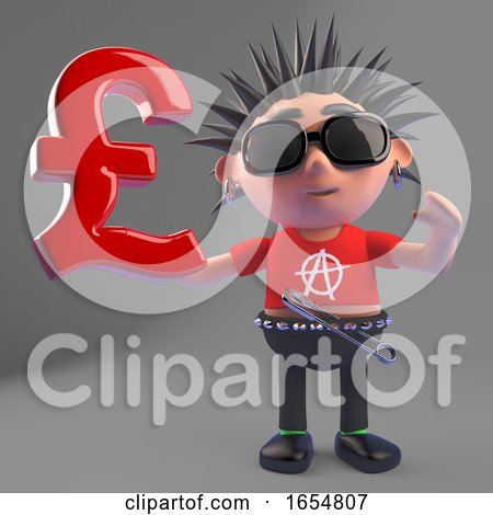 Vicious Punk Rocker Holds UK Pounds Sterling Currency Symbol, 3d Illustration by Steve Young