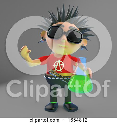 Funny Punk Rocker Holding a Flask of Green Potion, 3d Illustration by Steve Young
