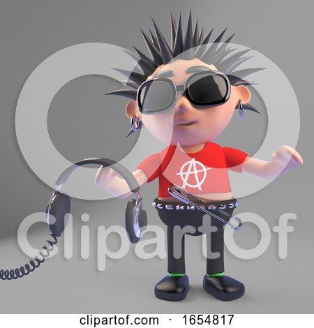 Cartoon Punk Rocker Holding Pair of Headphones, 3d Illustration by Steve Young