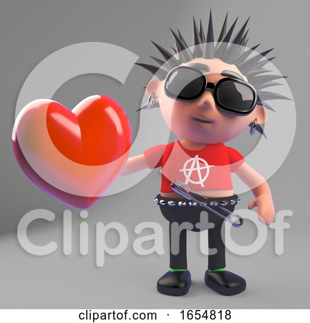 Rotten Punk Rocker Holding a Red Heart Because He Is a Romantic Softy Really, 3d Illustration by Steve Young