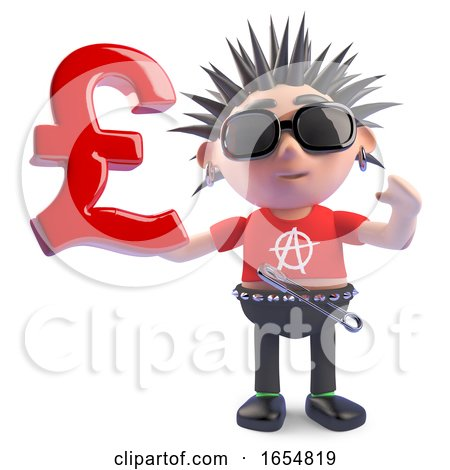 British Punk Holding a UK Pounds Sterling Currency Symbol, 3d Illustration by Steve Young