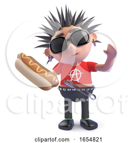Hungry Punk Holding a Delicious Hotdog Snack, 3d Illustration by Steve Young