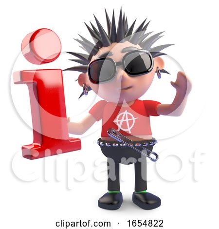 Rotten Punk Character Holding an Information Symbol, 3d Illustration by Steve Young