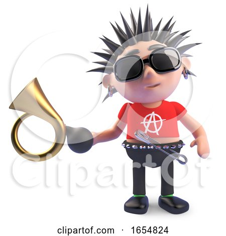 Funny Cartoon Punk Character Holding an Old Car Horn, 3d Illustration by Steve Young
