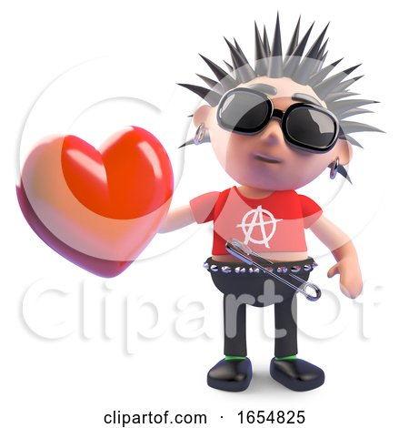 Vicious Cartoon Punk Holding a Romantic Red Heart, 3d Illustration by Steve Young