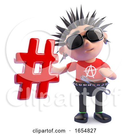 Funny Cartoon Punk Character Holding a Hashtag Symbol, 3d Illustration by Steve Young
