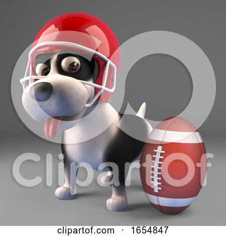 Cool Black and White Puppy Dog Wearing an American Football Helmet, 3d Illustration by Steve Young