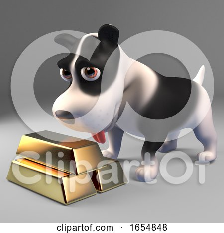 Rich Black and White Puppy Dog with a Stack of Gold Bullion Ingots, 3d Illustration by Steve Young