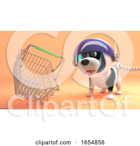 Space Dog in Spacesuit Explores Mars and Finds a Shopping Basket, 3d Illustration by Steve Young