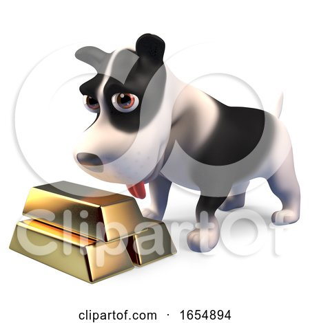 Rich Puppy Dog with a Stack of Gold Bullion Ingot Bars, 3d Illustration by Steve Young