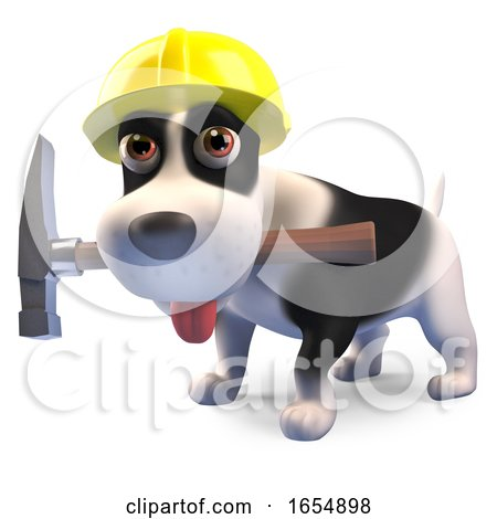 Construction Worker Puppy Dog with Hammer and Wearing Safety Helmet, 3d Illustration by Steve Young