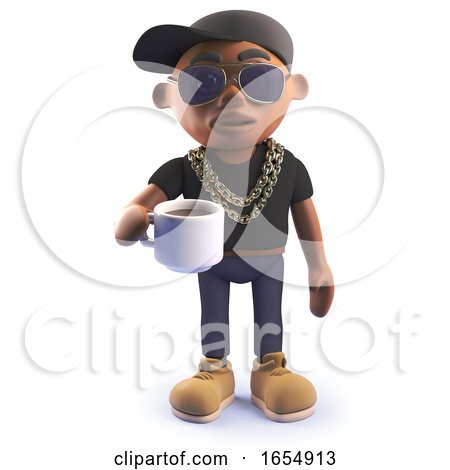 Cool Cartoon Black Hiphopr Rapper Drinking a Cup of Coffee, 3d Illustration Posters, Art Prints