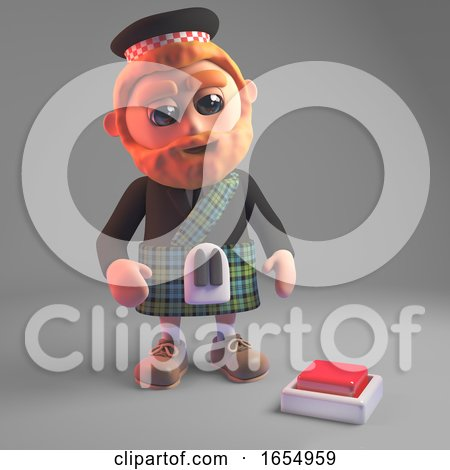 Concerned Scottish Man in Kilt Looks at Switch in Floor, 3d Illustration by Steve Young