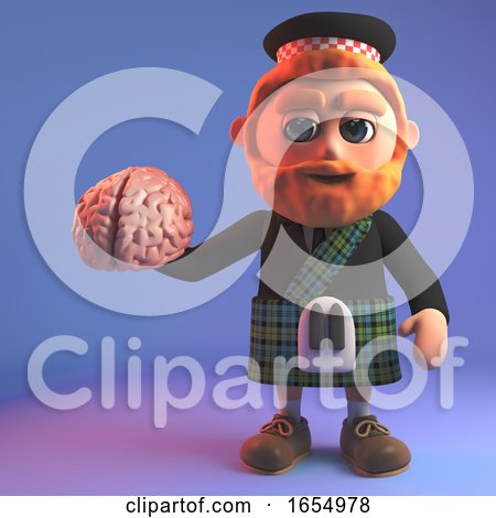 Intrigued Scottish Man in Tartan Kilt Holding a Human Brain, 3d Illustration by Steve Young