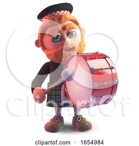 Cartoon Scots Man Wearing a Kilt and Playing a Marching Drum, 3d Illustration by Steve Young
