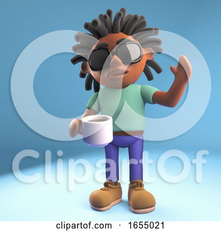 Happy Black Man Drinking Coffee and Waving Hello, 3d Illustration Posters, Art Prints