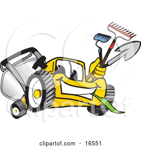 Clipart Picture of a Yellow Lawn Mower Mascot Cartoon Character Facing Front and Carrying Gardening Tools by Toons4Biz