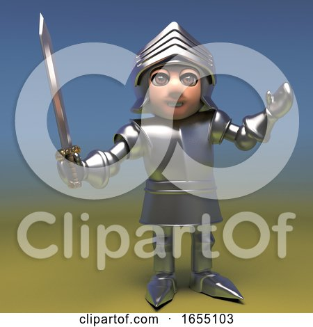 heroic medieval armoured knight poses with his sword 3d