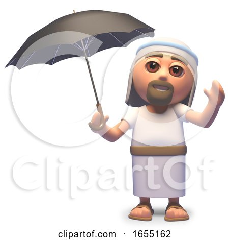 Jesus Christ Shelters from a Storm Under an Umbrella, 3d Illustration by Steve Young