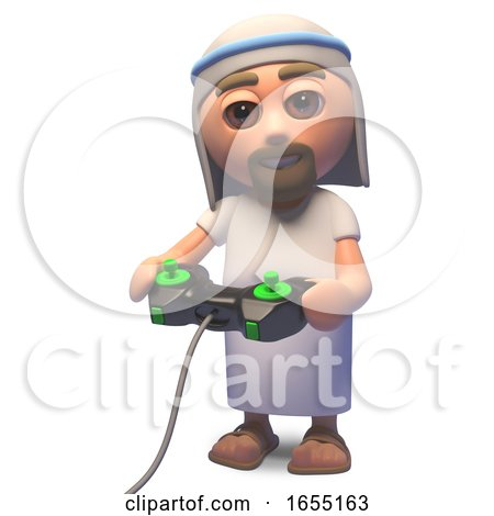 Holy Jesus Christ Son of God Playing a Video Game with a Joystick, 3d Illustration by Steve Young
