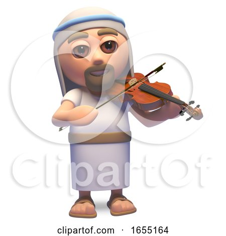Jesus Christ the Saviour Playing the Violin, 3d Illustration by Steve Young