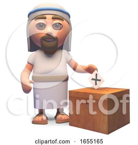 Jesus Christ Casts His Vote in the Election, 3d Illustration by Steve Young