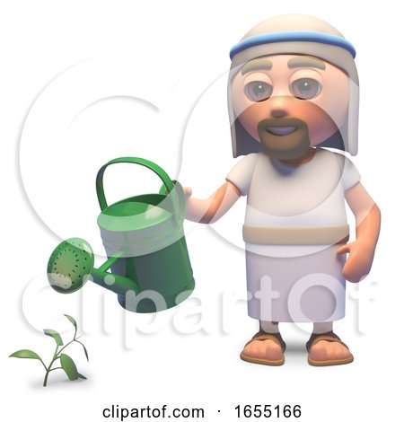 Holy Jesus Christ Watering His Garden with a Watering Can, 3d Illustration by Steve Young