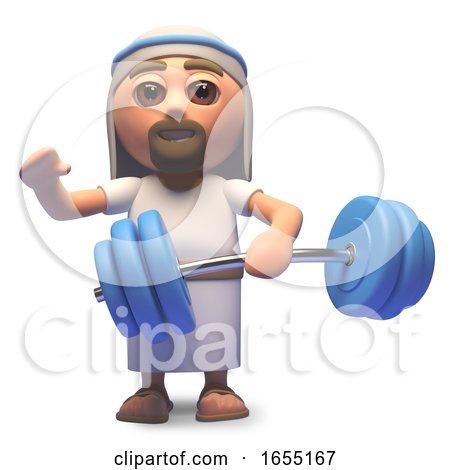 Jesus Christ Doing Some Weight Training, 3d Illustration by Steve Young