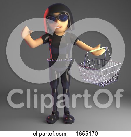 Sexy Goth Girl in Leather Carrying a Shopping Basket, 3d Illustration by Steve Young