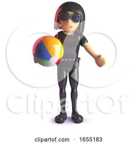 Goth Girl Is on Holiday and Playing with a Beach Ball, 3d Illustration by Steve Young
