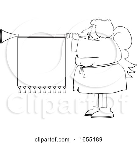 Cartoon Black and White Female Christmas Angel Blowing a Horn with a Banner by djart