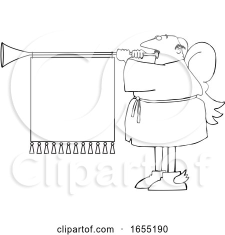 Cartoon Black and White Male Christmas Angel Blowing a Horn with a Banner by djart