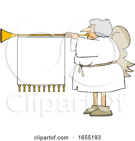 Cartoon Female Christmas Angel Blowing a Horn with a Banner by djart