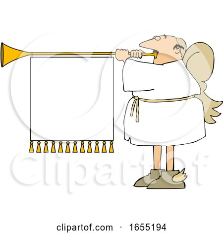 Cartoon Male Christmas Angel Blowing a Horn with a Banner by djart
