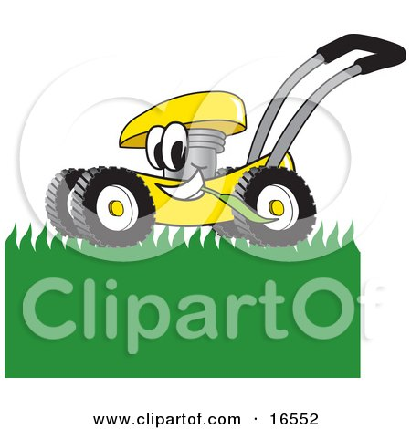 Clipart Picture of a Yellow Lawn Mower Mascot Cartoon Character Passing by and Mowing Grass by Toons4Biz