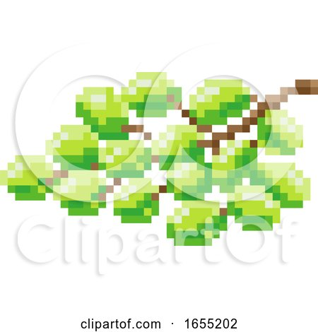 Grapes Bunch Pixel Art 8 Bit Video Game Fruit Icon by AtStockIllustration