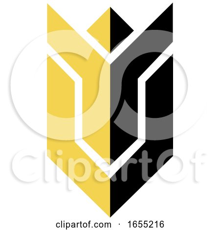 Abstract Yellow and Black Cheering Person Icon by Lal Perera