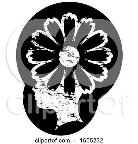 Black and White Grungy Profiled Girl Head with a Flower by Lal Perera