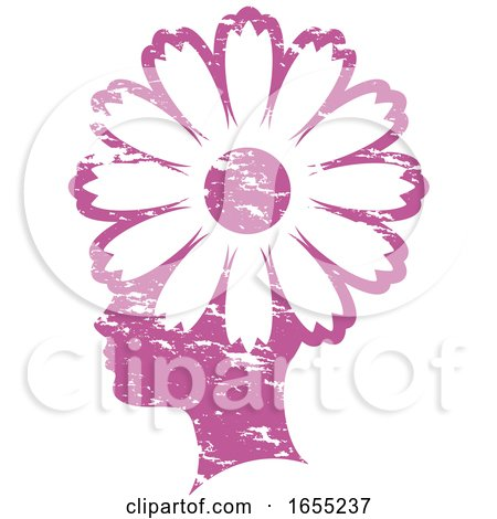 Pink Grungy Profiled Girl Head with a Flower by Lal Perera
