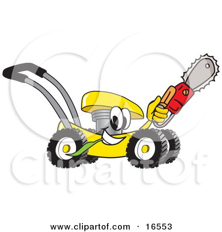 Clipart Picture of a Yellow Lawn Mower Mascot Cartoon Character Passing by and Carrying a Saw by Toons4Biz