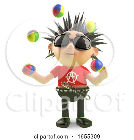 Juggling Punk Rocker Plays with His Juggling Balls by Steve Young