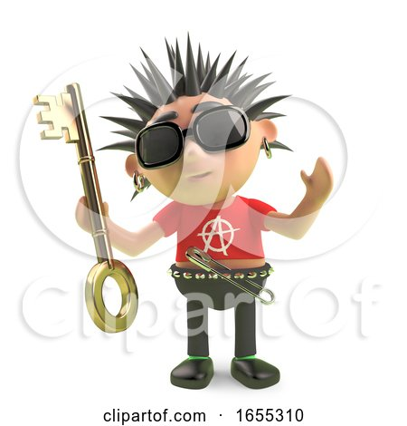 Spiky Punk Rock Cartoon Character Holding a Gold Key Render by Steve Young