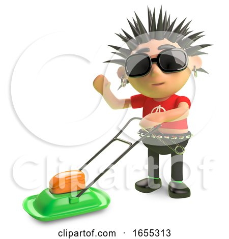 Cartoon Spiky Punk Rocker Moving the Lawn with a Lawnmower by Steve Young