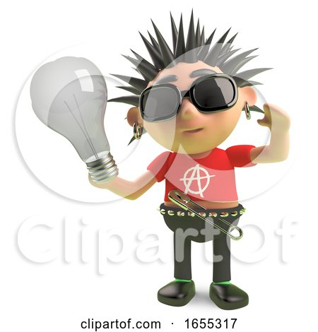 Vicious Spiky Punk Rock Character Holding a Lightbulb by Steve Young
