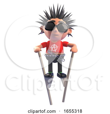 Obstinate Punk Rocker with Spiky Hair Using Stilts to Get About by Steve Young
