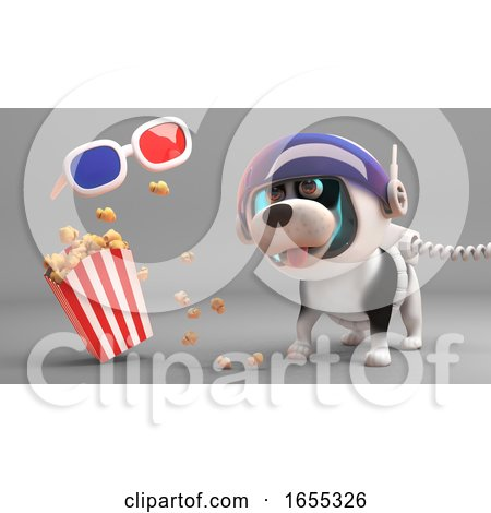 Cute Puppy Dog in Spacesuit Looks at Floating 3d Glasses and Popcorn Posters, Art Prints