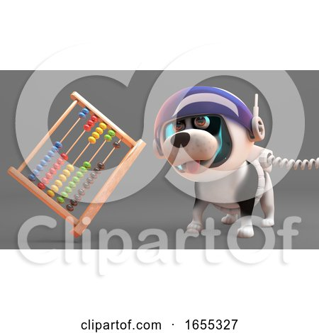 Cool Puppy Dog in Spacesuit Looking at an Abacus Floating in Zero Gravity Posters, Art Prints