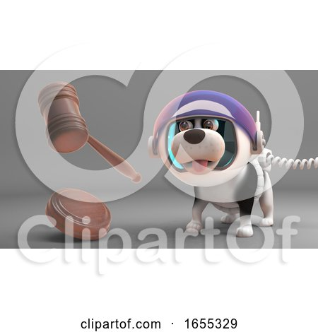 Amazed Puppy Dog in Spacesuit Looks at Floating Auction Gavel Posters, Art Prints
