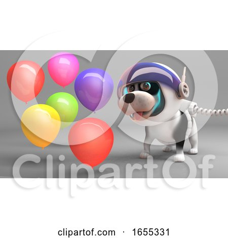 Puppy Dog in Spacesuit Celebrates with Party Balloons Posters, Art Prints