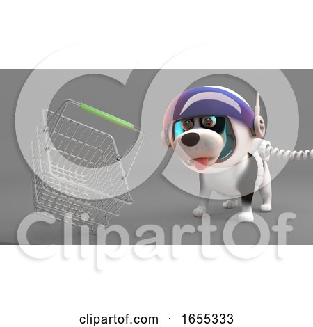 Cute Puppy Dog in Spacesuit Looks at a Floating Shopping Basket Posters, Art Prints